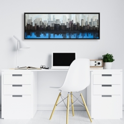 Framed 16 x 48 - View of a blue city