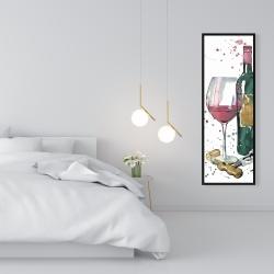 Framed 16 x 48 - Bottle of red wine