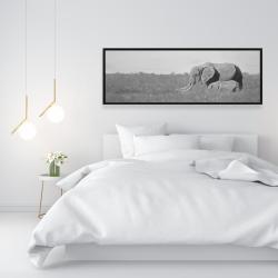 Framed 16 x 48 - Elephants in the savannah
