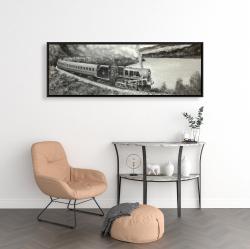 Framed 16 x 48 - Vintage passenger locomotive