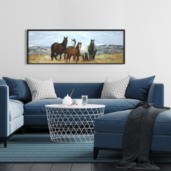 Framed 16 x 48 - Horses in the meadow by the sun