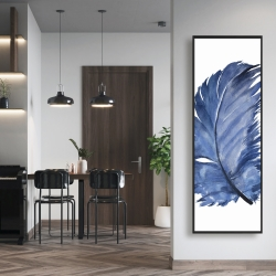 Framed 16 x 48 - Watercolor blue feather