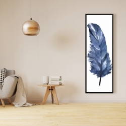 Framed 16 x 48 - Blue feather