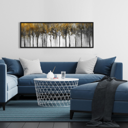 Framed 16 x 48 - Abstract yellow forest