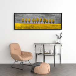 Framed 16 x 48 - Yellow trees in a field