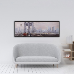 Framed 16 x 48 - Brooklyn bridge with passersby