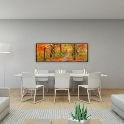 Framed 16 x 48 - Autumn trail in the forest