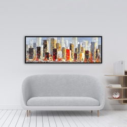 Framed 16 x 48 - Colorful buildings with water reflection