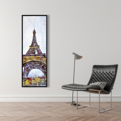 Framed 16 x 48 - Abstract paint splash eiffel tower