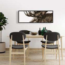 Framed 16 x 48 - Moose plume sepia