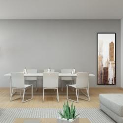 Framed 16 x 48 - Abstract earthy tones city