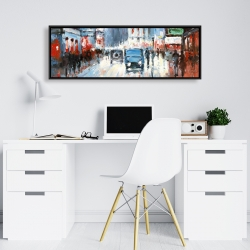 Framed 16 x 48 - Abstract red and blue city