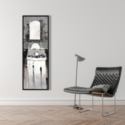 Framed 16 x 48 - Gray building with passersby