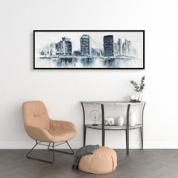 Framed 16 x 48 - Texturized blue colors cityscape