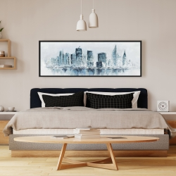 Framed 16 x 48 - City in blue colors