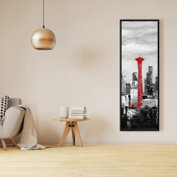 Framed 16 x 48 - Space needle in red