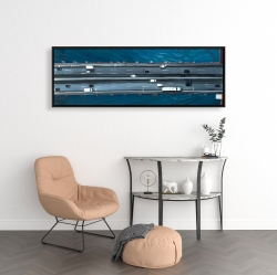 Framed 16 x 48 - Overhead view of traffic on the golden gate