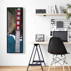 Framed 16 x 48 - Overhead view of the golden gate and mountains