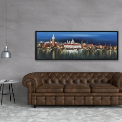 Framed 20 x 60 - City by night with reflection on water