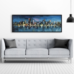 Framed 20 x 60 - Abstract blue cityscape by night