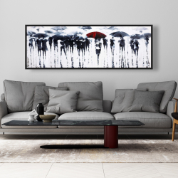 Framed 20 x 60 - Abstract silhouettes under the rain