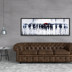 Framed 20 x 60 - Silhouettes walking in the rain