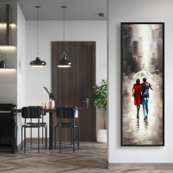 Framed 20 x 60 - Quiet walk in couple in the rain