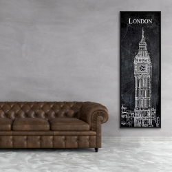 Framed 20 x 60 - Big ben sketch with a map in background