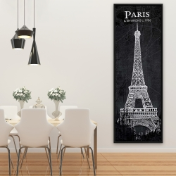 Framed 20 x 60 - Eiffel tower sketch with a map in background