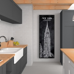 Framed 20 x 60 - Chrystler tower sketch with a map in background