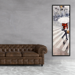 Framed 20 x 60 - Woman walking with her umbrella