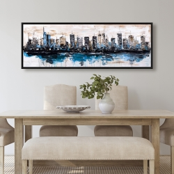 Framed 20 x 60 - Abstract city with reflection on water