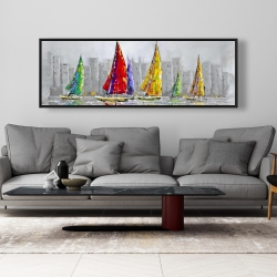 Framed 20 x 60 - Sailboats in the wind