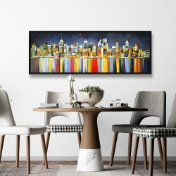 Framed 20 x 60 - Colorful reflection of a cityscape by night