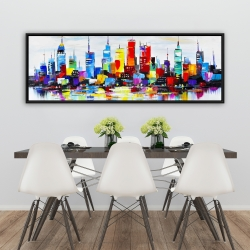 Framed 20 x 60 - Abstract and colorful city