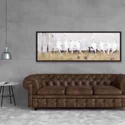 Framed 20 x 60 - Eight perched birds