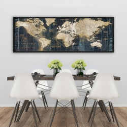 Framed 20 x 60 - Vintage world map
