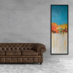 Framed 20 x 60 - Colorful abstract small flowers