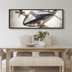 Framed 20 x 60 - Airplane in full flight
