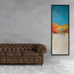 Framed 20 x 60 - Colorful abstract flowers on a grey background