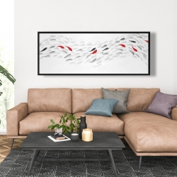 Framed 20 x 60 - Swimming fish wave