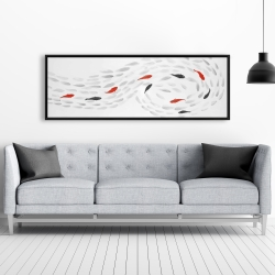 Framed 20 x 60 - Swimming fish swirl