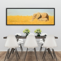 Framed 20 x 60 - Elephant and its little one