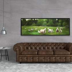 Framed 20 x 60 - Fields of sheep