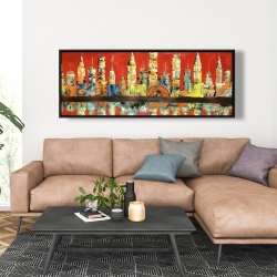 Framed 20 x 60 - Red abstract skyline