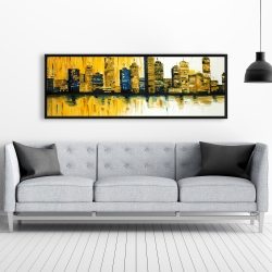 Framed 20 x 60 - Yellow abstract skyscrapers