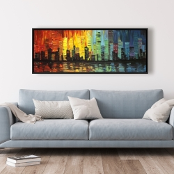 Framed 20 x 60 - City with color tones