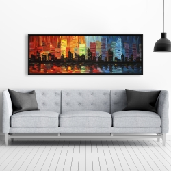 Framed 20 x 60 - Colorful cityscape