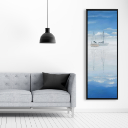 Framed 20 x 60 - Two sailboats on the quiet lake