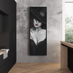Framed 20 x 60 - Mysterious red lips lady